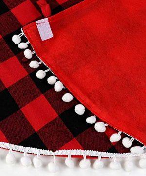 Aytai Buffalo Plaid Christmas Tree Skirt 48 Inch Red And Black Xmas Tree Skirts With Pom Pom For Christmas Decorations 0 0 300x360
