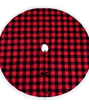 Aytai Buffalo Plaid Christmas Tree Skirt 48 Inch Red And Black Xmas Tree Skirts With Pom Pom For Christmas Decorations 0 300x360