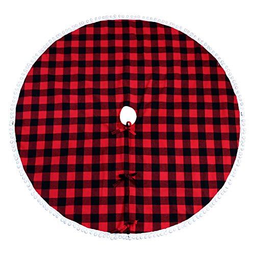 Aytai Buffalo Plaid Christmas Tree Skirt 48 Inch Red And Black Xmas Tree Skirts With Pom Pom For Christmas Decorations 0
