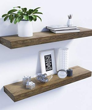 BAMFOX Floating Shelves Set Of 2Natural Bamboo Wall Shelf Wall Mounted ShelvesWall Mount Display Rack With Large Storage L23 X W6 For Kitchen Living Room Bathroom Bedroom 0 300x360
