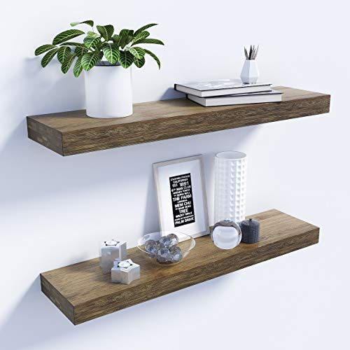 BAMFOX Floating Shelves Set of 2,Natural Bamboo Wall Shelf Wall Mounted  Shelves,Wall Mount Display Rack with Large Storage L23 x W6 for Kitchen  Living ...