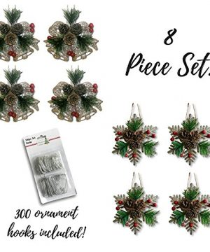 BANBERRY DESIGNS Pinecone Ornaments Set Of 8 Glittered Snowflakes And Bells With Pine Cones Greenery And Red Berries Christmas Farmhouse Decor 0 0 300x360