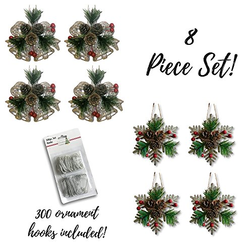 BANBERRY DESIGNS Pinecone Ornaments Set Of 8 Glittered Snowflakes And Bells With Pine Cones Greenery And Red Berries Christmas Farmhouse Decor 0 0