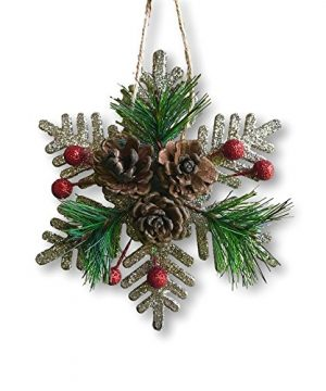 BANBERRY DESIGNS Pinecone Ornaments Set Of 8 Glittered Snowflakes And Bells With Pine Cones Greenery And Red Berries Christmas Farmhouse Decor 0 1 300x360