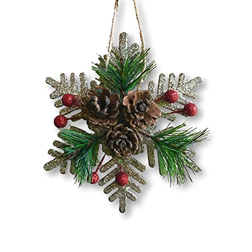 BANBERRY DESIGNS Pinecone Ornaments Set Of 8 Glittered Snowflakes And Bells With Pine Cones Greenery And Red Berries Christmas Farmhouse Decor 0 1