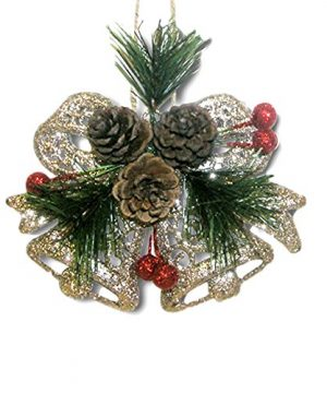 BANBERRY DESIGNS Pinecone Ornaments Set Of 8 Glittered Snowflakes And Bells With Pine Cones Greenery And Red Berries Christmas Farmhouse Decor 0 2 300x360