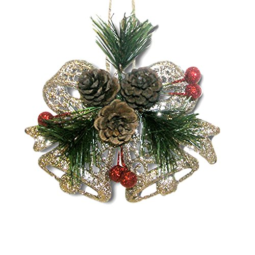 BANBERRY DESIGNS Pinecone Ornaments Set Of 8 Glittered Snowflakes And Bells With Pine Cones Greenery And Red Berries Christmas Farmhouse Decor 0 2