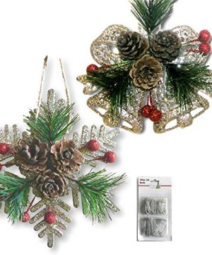 BANBERRY DESIGNS Pinecone Ornaments Set Of 8 Glittered Snowflakes And Bells With Pine Cones Greenery And Red Berries Christmas Farmhouse Decor 0 300x360