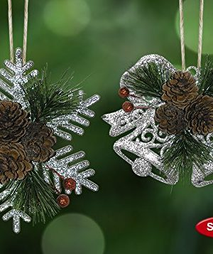 BANBERRY DESIGNS Pinecone Ornaments Set Of 8 Glittered Snowflakes And Bells With Pine Cones Greenery And Red Berries Christmas Farmhouse Decor 0 4 300x357
