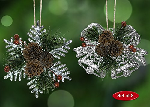 BANBERRY DESIGNS Pinecone Ornaments Set Of 8 Glittered Snowflakes And Bells With Pine Cones Greenery And Red Berries Christmas Farmhouse Decor 0 4