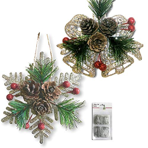 BANBERRY DESIGNS Pinecone Ornaments Set Of 8 Glittered Snowflakes And Bells With Pine Cones Greenery And Red Berries Christmas Farmhouse Decor 0