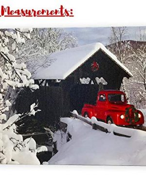 BANBERRY DESIGNS Red Truck Canvas Print Christmas Canvas Print With LED And Fiber Optic Lights Winter Scene Wall Art Covered Bridge Snowy 0 0 300x360