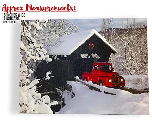 BANBERRY DESIGNS Red Truck Canvas Print Christmas Canvas Print With LED And Fiber Optic Lights Winter Scene Wall Art Covered Bridge Snowy 0 0