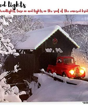 BANBERRY DESIGNS Red Truck Canvas Print Christmas Canvas Print With LED And Fiber Optic Lights Winter Scene Wall Art Covered Bridge Snowy 0 1 300x360