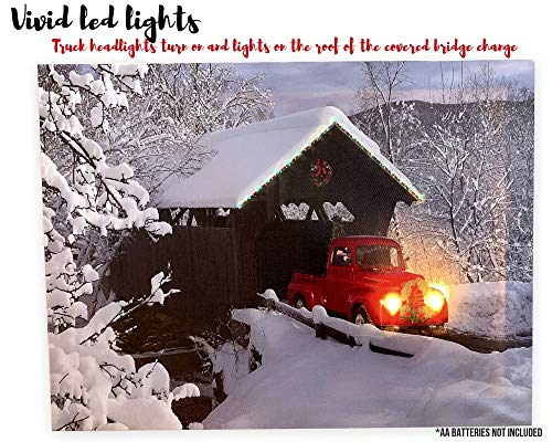 BANBERRY DESIGNS Red Truck Canvas Print Christmas Canvas Print With LED And Fiber Optic Lights Winter Scene Wall Art Covered Bridge Snowy 0 1