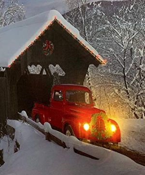 BANBERRY DESIGNS Red Truck Canvas Print Christmas Canvas Print With LED And Fiber Optic Lights Winter Scene Wall Art Covered Bridge Snowy 0 2 300x360