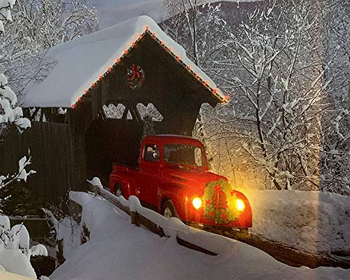 BANBERRY DESIGNS Red Truck Canvas Print Christmas Canvas Print With LED And Fiber Optic Lights Winter Scene Wall Art Covered Bridge Snowy 0 2