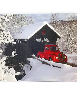 BANBERRY DESIGNS Red Truck Canvas Print Christmas Canvas Print With LED And Fiber Optic Lights Winter Scene Wall Art Covered Bridge Snowy 0 300x360