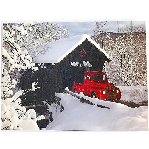 BANBERRY DESIGNS Red Truck Canvas Print Christmas Canvas Print With LED And Fiber Optic Lights Winter Scene Wall Art Covered Bridge Snowy 0
