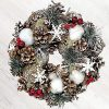 BANBERRY DESIGNS Woodsy Country Christmas Wreath With Snowy Pinecones Cotton Pine Red Berry Winter Farmhouse Rustic Home Dcor For Front Door Window Wall Table 0 100x100