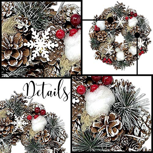 Banberry Designs Woodsy Country Christmas Wreath With Snowy Pinecones Cotton Pine Red Berry Winter Farmhouse Rustic Farmhouse Goals