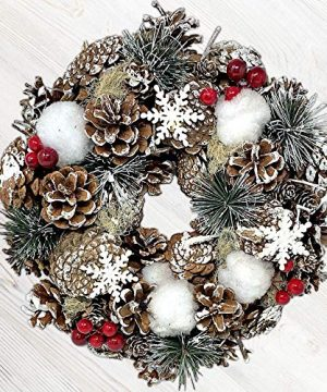 BANBERRY DESIGNS Woodsy Country Christmas Wreath With Snowy Pinecones Cotton Pine Red Berry Winter Farmhouse Rustic Home Dcor For Front Door Window Wall Table 0 300x360