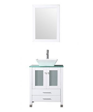 BATHJOY 24 White Bathroom Wood Vanity Cabinet Top Ceramic Vessel Sink Faucet Drain Combo With Mirror Vanities Set 0 300x360