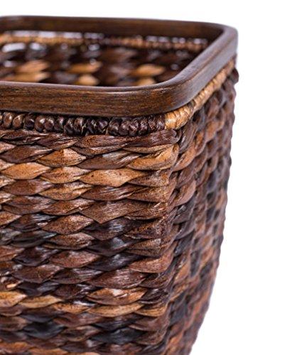 BIRDROCK HOME Seagrass Woven Wastebasket Espresso Office Waste Bin Decorative Wooden Base Recycle Trash Can 0 0