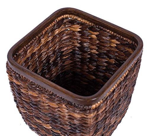 BIRDROCK HOME Seagrass Woven Wastebasket Espresso Office Waste Bin Decorative Wooden Base Recycle Trash Can 0 1