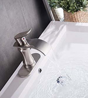 BWE Brushed Nickel Waterfall Bathroom Faucet Single Handle Basin Sink Mixer TapBrushed Nickel Lavatory Faucets 0 1 300x334