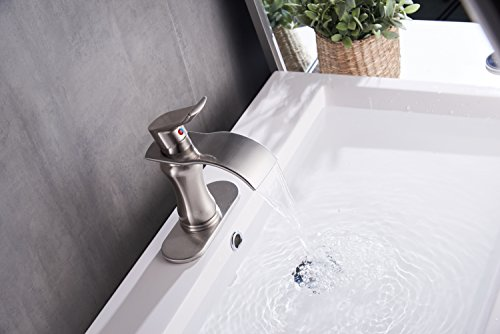 BWE Brushed Nickel Waterfall Bathroom Faucet Single Handle Basin Sink Mixer TapBrushed Nickel Lavatory Faucets 0 1