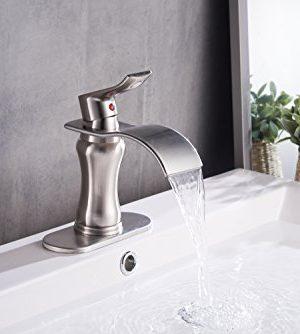 BWE Brushed Nickel Waterfall Bathroom Faucet Single Handle Basin Sink Mixer TapBrushed Nickel Lavatory Faucets 0 2 300x334