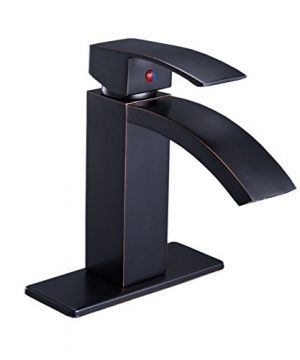 BWE Oil Rubbed Bronze Deck Mount Commercial Single Handle Waterfall Bathroom Sink Faucet Lavatory Deck Mount 0 300x360