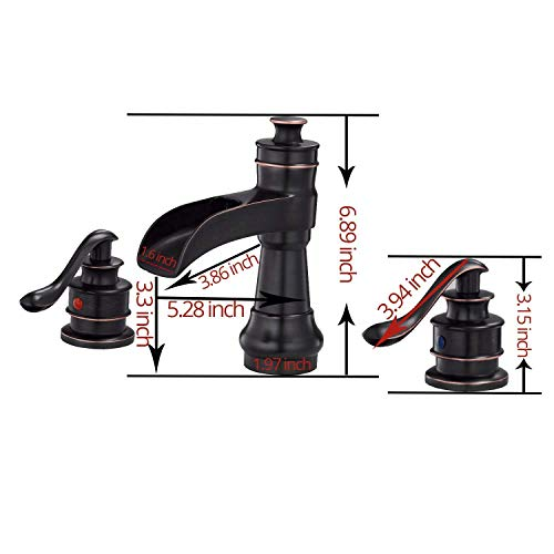 BWE Oil Rubbed Bronze Waterfall 8 16 Inch 3 Holes Commercial Two Handle Widespread Bathroom Sink Faucet 0 0