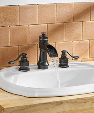 BWE Oil Rubbed Bronze Waterfall 8 16 Inch 3 Holes Commercial Two Handle Widespread Bathroom Sink Faucet 0 1 300x360