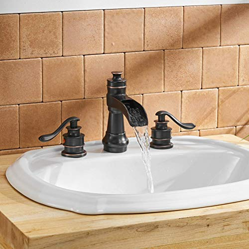 BWE Oil Rubbed Bronze Waterfall 8 16 Inch 3 Holes Commercial Two Handle Widespread Bathroom Sink Faucet 0 1