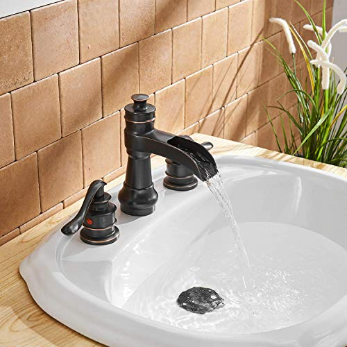 BWE Oil Rubbed Bronze Waterfall 8 16 Inch 3 Holes Commercial Two Handle Widespread Bathroom Sink Faucet 0 2