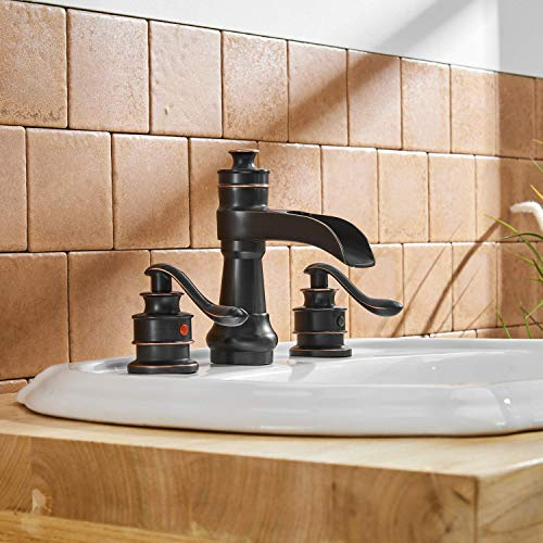 BWE Oil Rubbed Bronze Waterfall 8 16 Inch 3 Holes Commercial Two Handle Widespread Bathroom Sink Faucet 0 3