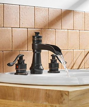 BWE Oil Rubbed Bronze Waterfall 8 16 Inch 3 Holes Commercial Two Handle Widespread Bathroom Sink Faucet 0 4 300x360