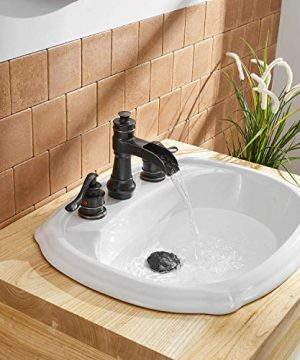 BWE Oil Rubbed Bronze Waterfall 8 16 Inch 3 Holes Commercial Two Handle Widespread Bathroom Sink Faucet 0 5 300x360
