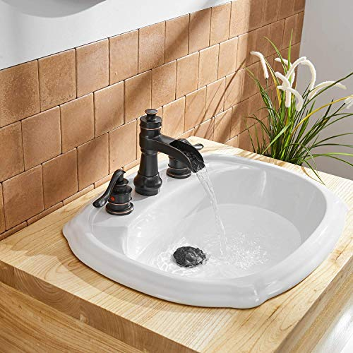 BWE Oil Rubbed Bronze Waterfall 8 16 Inch 3 Holes Commercial Two Handle Widespread Bathroom Sink Faucet 0 5