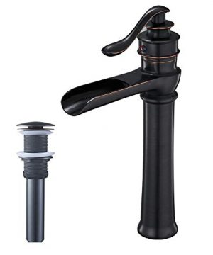 BWE Oil Rubbed Bronze Waterfall Commercial Bathroom Vessel Sink Faucet Deck Mount Tall Body Single Handle One Hole 0 300x360