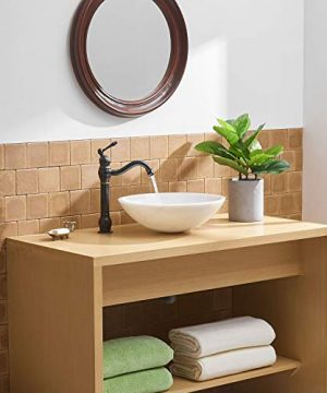 BWE Single Hole Lever Bathroom Vessel Sink Faucet With Matching Pop Up Drain Without Overflow Oil Rubbed Bronze ORB Commercial 0 2 300x360