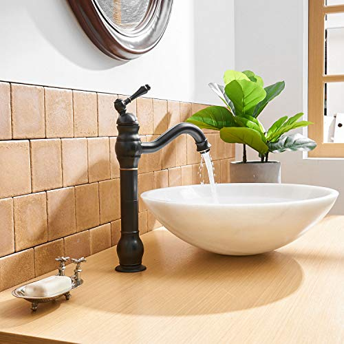 BWE Single Hole Lever Bathroom Vessel Sink Faucet With Matching Pop Up Drain Without Overflow Oil Rubbed Bronze ORB Commercial 0 3