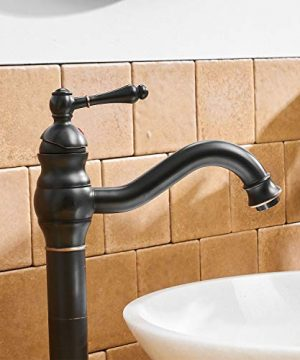 BWE Single Hole Lever Bathroom Vessel Sink Faucet With Matching Pop Up Drain Without Overflow Oil Rubbed Bronze ORB Commercial 0 4 300x360