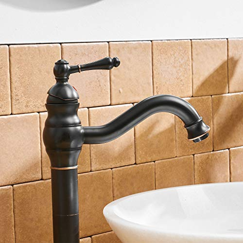 BWE Single Hole Lever Bathroom Vessel Sink Faucet With Matching Pop Up Drain Without Overflow Oil Rubbed Bronze ORB Commercial 0 4