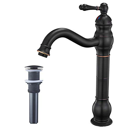 BWE Single Hole Lever Bathroom Vessel Sink Faucet With Matching Pop Up Drain Without Overflow Oil Rubbed Bronze ORB Commercial 0