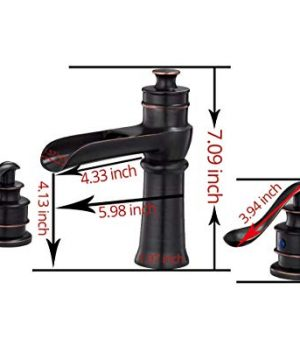 BWE Waterfall 8 16 Inch Oil Rubbed Bronze 3 Holes Two Handle Commercial Widespread Bathroom Sink Faucet Deck Mount 0 0 300x360