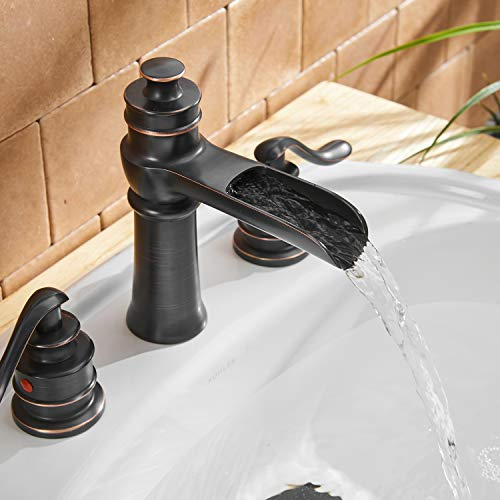 BWE Waterfall 8 16 Inch Oil Rubbed Bronze 3 Holes Two Handle Commercial Widespread Bathroom Sink Faucet Deck Mount 0 3