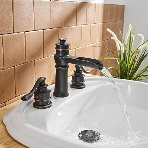 BWE Waterfall 8 16 Inch Oil Rubbed Bronze 3 Holes Two Handle Commercial Widespread Bathroom Sink Faucet Deck Mount 0 4